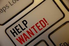 文本标志陈列帮助想要诱导电话 概念性照片雇员需要的工作者补充Headhunting 库存图片