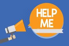 文本标志陈列帮助我 要求概念性的照片某人协助呼喊为它的您拿着扩音机的配合志愿人 向量例证