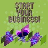 文本标志陈列开始您的事务 概念性照片企业家组织五颜六色小组织的起动 向量例证