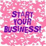文本标志陈列开始您的事务 概念性照片企业家组织徒手画被画的小组织起动 向量例证