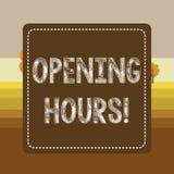 文本标志陈列开放时间 概念性照片期间事务为顾客是开放的时间在飞奔了点刻法 皇族释放例证