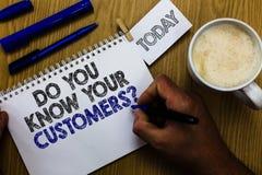 文本标志陈列您认识您的顾客问题 有概念性的照片关于客户的巨大背景供以人员拿着标志 库存照片