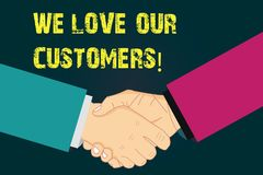 文本标志陈列我们爱我们的顾客 对客户好客服胡分析的概念性照片欣赏 向量例证
