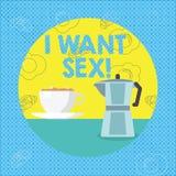 文本标志陈列我想要性 渴望性交兴奋的概念性照片 向量例证