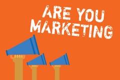 文本标志陈列是您营销 促进品牌在市场公告报告人messa的产品销售的概念性照片行动 皇族释放例证