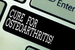 文本标志陈列治疗骨关节炎 联接键盘键的痛苦和僵硬的概念性照片治疗 免版税库存图片