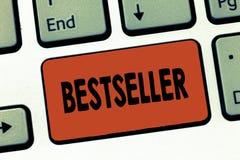 文本标志陈列畅销书 在大数成功的文学卖的概念性照片书产品 免版税库存图片