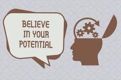 文本标志陈列相信您的潜力 概念性照片信仰在YourselfUnleash您的可能性 向量例证