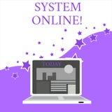 文本标志陈列系统在网上 概念性照片,当设备可能与其他设备开放现代欣然联络 向量例证