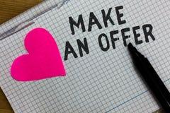 文本标志陈列给予一个条件 概念性照片提案带来志愿提议赠送出价格兰特广场笔记本纸ripp 库存图片