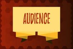 文本标志陈列观众 公开事件正式采访的概念性照片观众与当局 库存例证