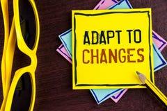 文本标志陈列适应变动 概念性与在黄色St写的技术演变的照片创新变动适应 免版税库存照片