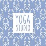 文本瑜伽演播室设计卡片 库存照片