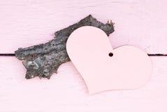 文本的桃红色心脏 库存图片