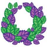 文本的框架从新蓬蒿传染媒介例证绿色和紫色叶子  库存照片