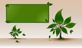 文本的模板与绿色树 库存例证