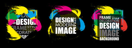 文本的现代框架 动态五颜六色的设计元素 向量 免版税库存照片