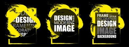 文本的现代框架 动态黄色设计元素 向量 免版税库存图片