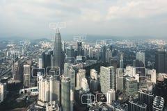 文本的空白在城市和泡影为通信聊天 图库摄影