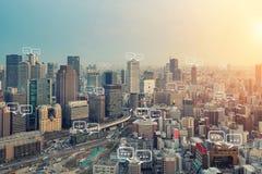 文本的空白在大阪市和泡影为communica聊天 免版税库存图片