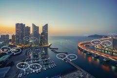 文本的空白在釜山市和泡影为communica聊天 免版税图库摄影
