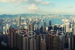 文本的空白在香港市和泡影为commu聊天 库存图片