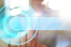 文本的空间在抽象背景 虚屏未来派接口 创新技术互联网概念 图库摄影
