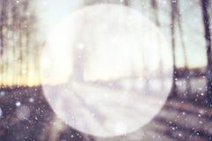 文本的被弄脏的背景雪框架 免版税库存照片