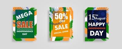 文本的集合现代五颜六色的框架印地安人与Ashoka轮子第15威严的销售设计海报或ba的美国独立日背景的 皇族释放例证