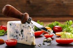 文本的青纹干酪用在木背景的蕃茄和空间 库存图片