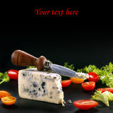 文本的青纹干酪用在石背景的蕃茄和空间 免版税库存照片