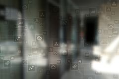 文本的,虚屏背景模板 事务、互联网技术和网络概念 图库摄影