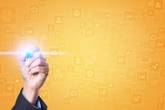 文本的,虚屏背景模板 蓝蓝在电话有选择性的技术淡色调白色的企业概念精美重点关键董事会膝上型计算机豪华移动电话 免版税库存照片