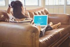 文本的综合图象的综合图象与Wi-Fi标志的 免版税库存照片
