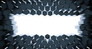 文本的3D任抽象六角形背景顶视图空的空间 图库摄影