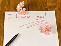 文本& x22; 我爱你! & x22;在白皮书 库存照片