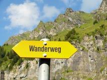 文根,瑞士 山行迹路标 图库摄影