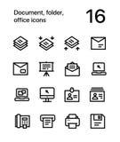 文件、文件夹、办公室象网的和流动设计组装4 免版税库存图片