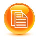 文件呼叫象玻璃状橙色圆的按钮 库存照片