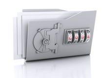 文件夹和锁 束缚被包裹的概念常规复制数据设计设备hdd被锁定的挂锁权利被巩固的安全空间 3d例证 免版税库存照片