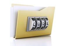 文件夹和锁 束缚被包裹的概念常规复制数据设计设备hdd被锁定的挂锁权利被巩固的安全空间 3d例证 免版税图库摄影