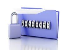 文件夹和锁 束缚被包裹的概念常规复制数据设计设备hdd被锁定的挂锁权利被巩固的安全空间 3d例证 图库摄影