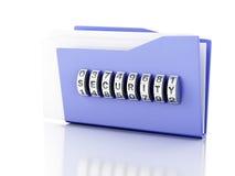 文件夹和锁 束缚被包裹的概念常规复制数据设计设备hdd被锁定的挂锁权利被巩固的安全空间 3d例证 免版税库存图片