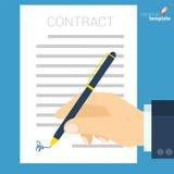 文件签署的传染媒介象 向量例证