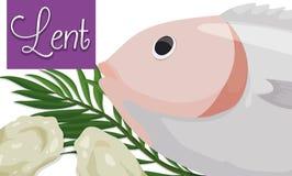 斋戒的面包、鱼和棕榈叶被借的季节的,传染媒介例证 免版税库存图片