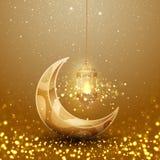 斋月与发光的垂悬的灯笼和月亮的kareem背景 与3D样式的贺卡背景 库存例证