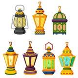 斋月蜡烛灯笼的汇集在低灯方式下 皇族释放例证