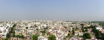 斋浦尔,印度- 2017年9月20日:位于斋浦尔状态城市的老大厦美好的鸟瞰图,在印度 免版税库存图片