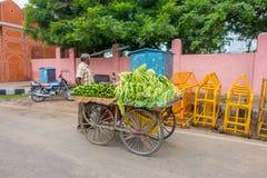 斋浦尔,印度- 2017年9月19日:使用一tricyle用食物的未认出的人,在街道的一个公开市场上 免版税库存图片