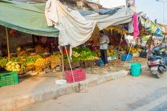 斋浦尔,印度- 2017年9月19日:卖在街道上的妇女果子在斋浦尔,拉贾斯坦 免版税库存照片